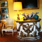 Gilt furniture adorned with birds at Bentley